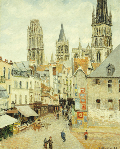 Rue De L'Epicerie In Rouen On A Gray Morning, 1898 by Camille Pissarro