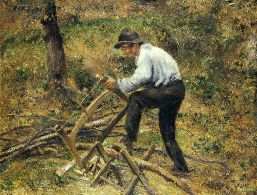 Father Sawing Wood, Pointoise, 1879 by Camille Pissarro