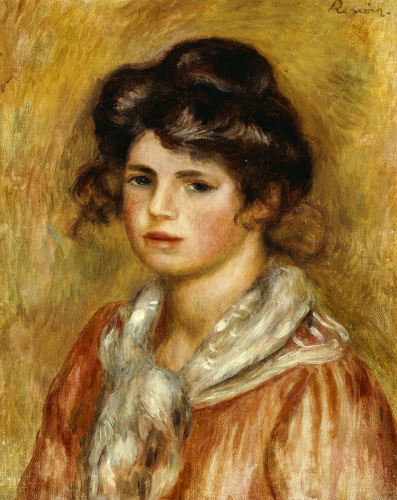 Young Girl With A White Handkerchief, 1907 by Pierre Auguste Renoir