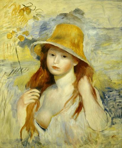 Jeune Fille Au Chapeau De Paille, 1884 by Pierre Auguste Renoir