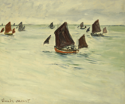 Fishing Boats on the Large De Pourville, 1882 by Claude Monet