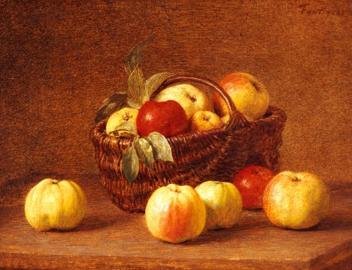 Apples In A Basket On A Table by Ignace-Henri-Théodore Fantin-Latour