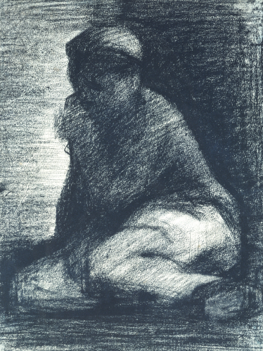 A Young Man Crouching, Circa 1882 by Georges Seurat