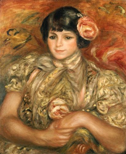 Girl With A Rose by Pierre Auguste Renoir