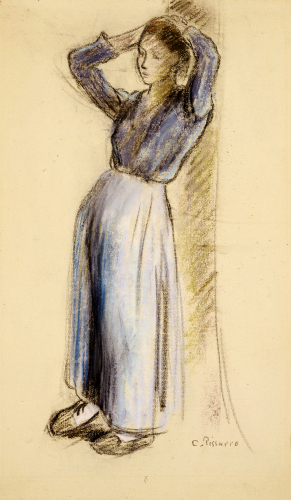 Country Girl Leaning Against A Tree, Circa 1893 by Camille Pissarro