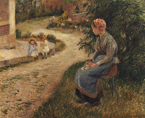 The Maid Sitting In The Garden At Eragny, 1884 by Camille Pissarro