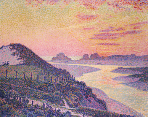 Sunset At Ambleteuse, Pas De Calais, 1899 by Theodore van Rysselberghe