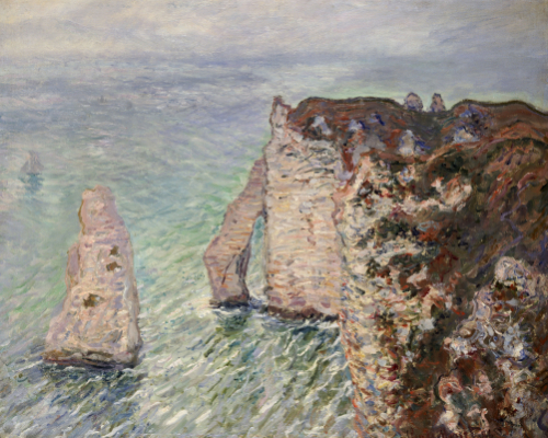 L'Aiguille And The Porte D'Eval, Etretat, 1886 by Claude Monet