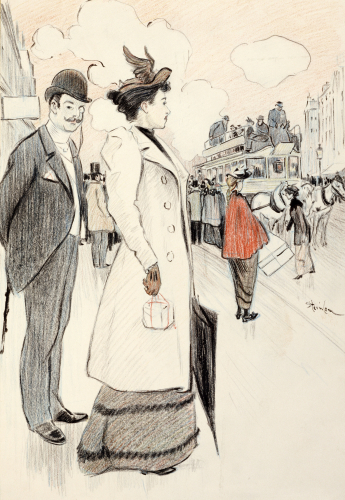 A Couple Waiting For A Bus by Theophile-Alexandre Steinlen