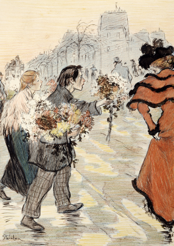 A Street Scene With Flower Vendors. One Of Twenty Illustrations For 'Autour Trottoir' by Theophile-Alexandre Steinlen