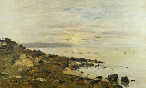 Cliffs At Benerville, Sunset, 1897 by Eugene Louis Boudin