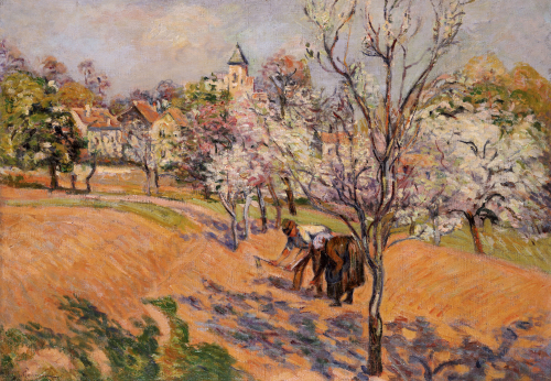 Two Peasants Sowing Haricots In An Orchard In Blossom by Jean-Baptiste-Armand Guillaumin