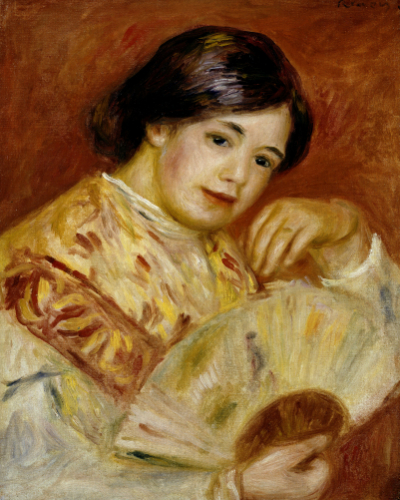 Coco With A Japanese Fan, Circa 1906 by Pierre Auguste Renoir