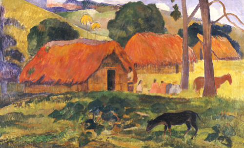 The Three Huts, Tahiti, 1891 by Paul Gauguin
