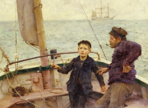 The Steering Lesson by Henry Scott Tuke