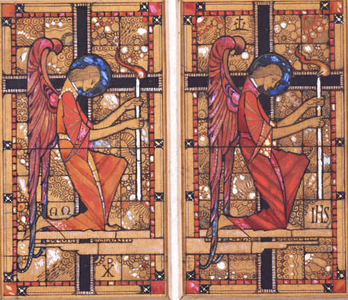 Two Angels: A Design For Stained Glass by Harry Clarke