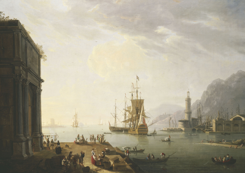 A Mediterranean Seaport, With A Triumphal Arch, Figures On The Quay by Thomas Patch