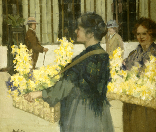 The Flowersellers, Argyle Street, Glasgow, 1915 by John Smellie