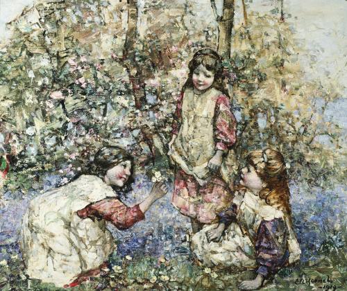 Gathering Primroses, 1919 by Edward Atkinson Hornel
