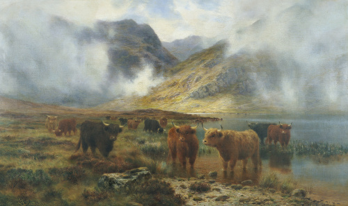 By Loch Treachlan, Glencoe, Morning Mists, 1907 by Louis Bosworth Hurt
