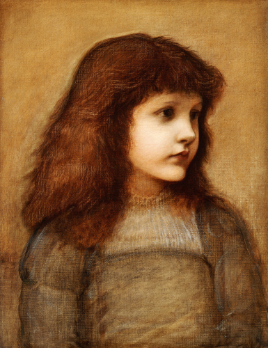 Portrait Of Gertie Lewis, Half-Length by Sir Edward Burne-Jones