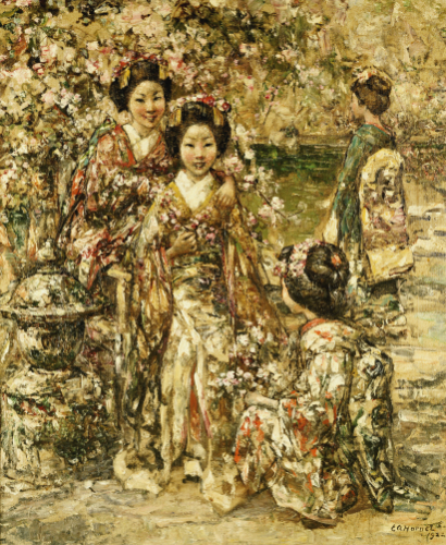 In A Kyoto Garden, 1922 by Edward Atkinson Hornel