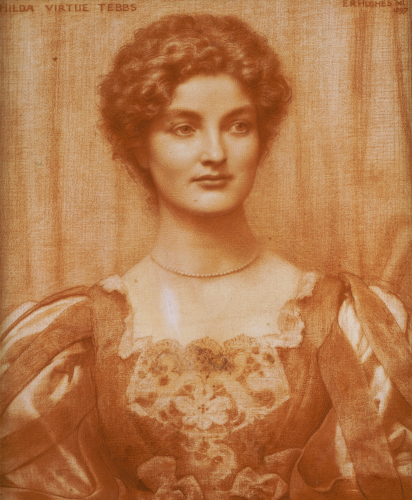Portrait Of Hilda Virtue Tebbs, 1897 by Edward Robert Hughes