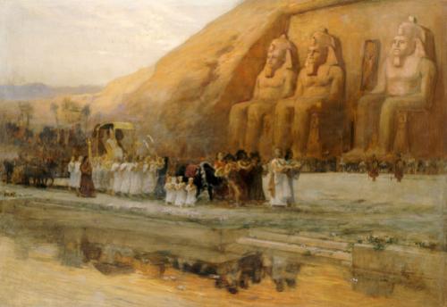 Temple D'Abou Simbel, La Fete Du Pharoan by Frederick Arthur Bridgman