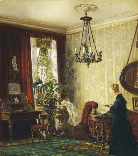 A Woman In An Interior, C. 1878 by Luisa Rovn Hansen