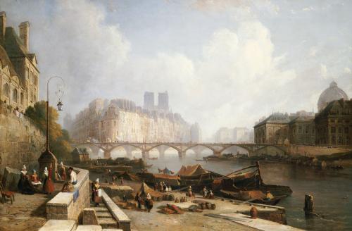 A View Of Ile De La Cite, Paris, From The Quai Du Louvre, 1836 by Colet Robert Stanley