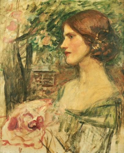 Portrait Of A Lady In A Green Dress or The Bouquet (Study), Circa 1908 by John William Waterhouse