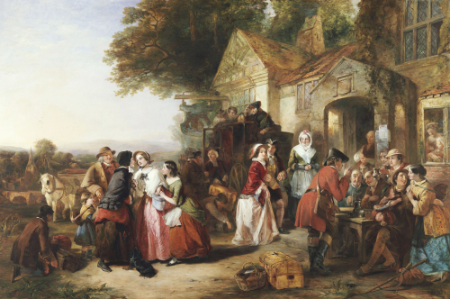 The Arrival Of The Coach - A Roadside Inn A Century Ago. 'Home, Sweet Home', 1850 by Thomas Falcon Marshall
