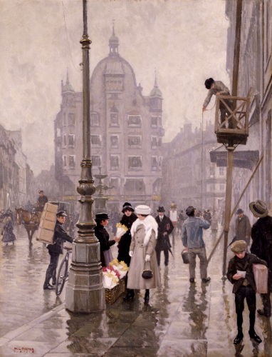 The Flower Seller, Amager Torv, Copenhagen, 1918 by Paul Gustav Fischer