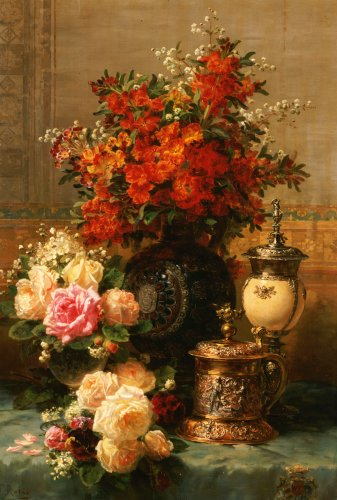 Still Life Of Roses And Other Flowers by Jean-Baptiste Robie