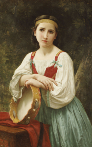Bohemienne Au Tambour De Basque by Adolphe William Bouguereau