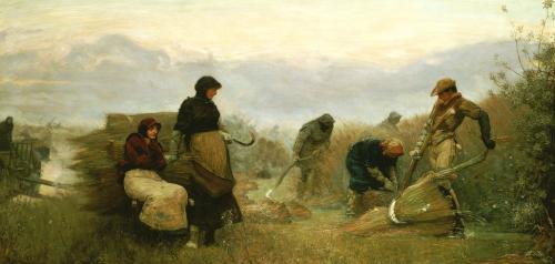 Sedge Cutting In Wecken Fen, Cambridgeshire - Early Morning, 1878 by Robert Walker Macbeth