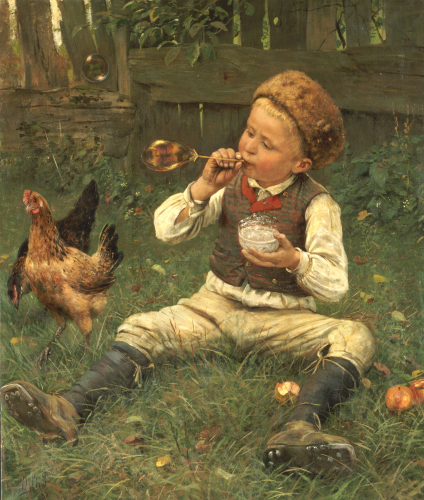 Blowing Bubbles, 1885 by Adolf Lins