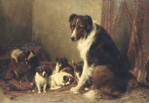 A Collie With Her Puppies by Otto Eerelman