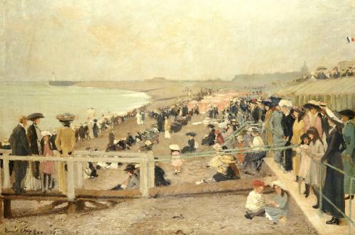 The Beach, Dieppe, 1911 by Ernest Oppler