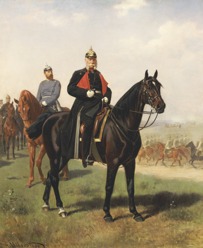 Wilhelm I With His Son At The Battle Of Konigsgratz, 1864 by Emil Volkers