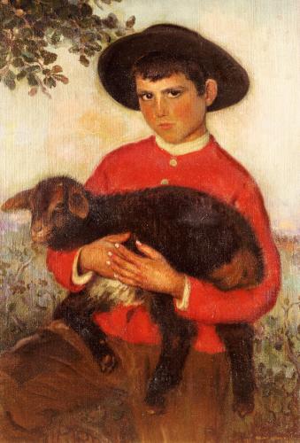 The Goatherd, 1920 by Eugenio Hermosa Martinez