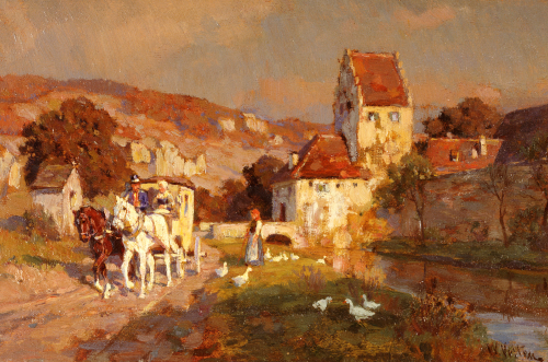 A Horse And Carriage By A River by Wilhelm Velten