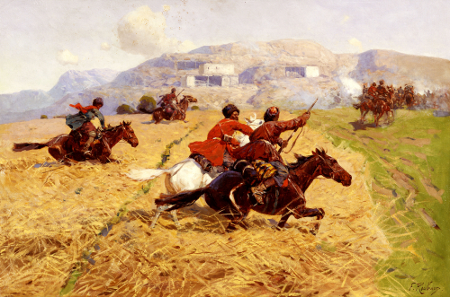 Cossacks Charging Into Battle by Franz Alekseevitch Roubaud
