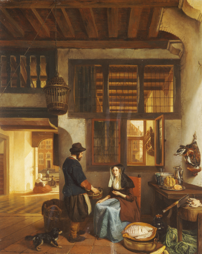 A Dutch Interior, 1842 by Hubertus Van Hove