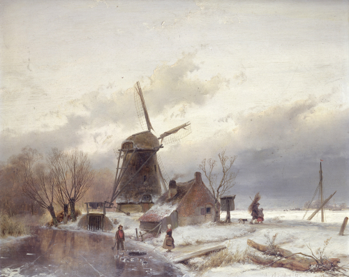 A Frozen River Landscape With A Windmill by Andreas Schelfhout