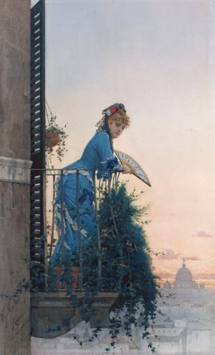 An Elegant Beauty On A Balcony Looking Out Over Rome With The Dome Of St Peter In The Distance by Willem Johann Martens