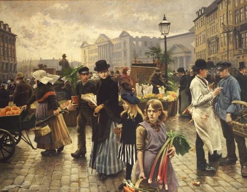 Market Day At Hojbro Plads Copenhagen by Paul Gustav Fischer