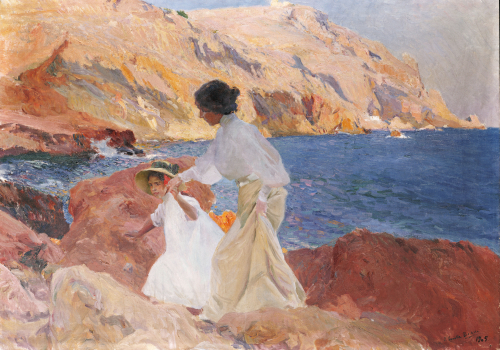 Clotilde And Elena On The Rocks, Javea, 1905 by Joaquin Sorolla y Bastida
