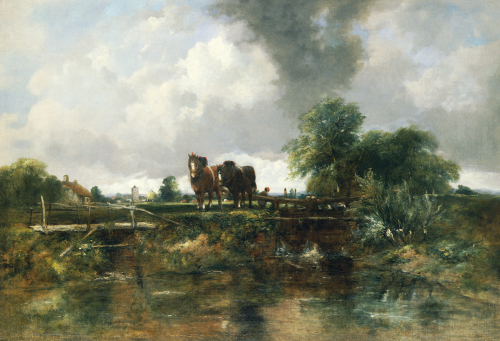 A Wooded River Landscape With Horses Working A Lock by Frederick Watts