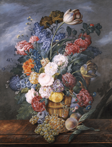A Still Life Of Mixed Flowers In A Vase On A Stone Ledge, 1818 by Marie Von Pachner